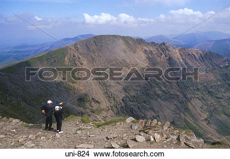 Stock Photo of Couple Admiring View Snowdonia National Park Wales.