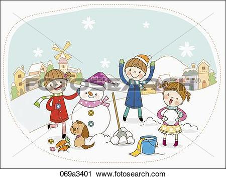 Clipart of illustration of kids playing on snow field 069a3401.