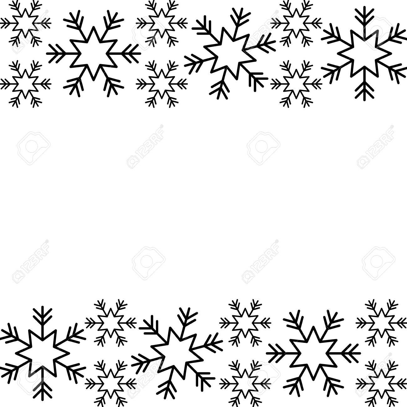 Snowflake Christmas Border Clipart Black And White.