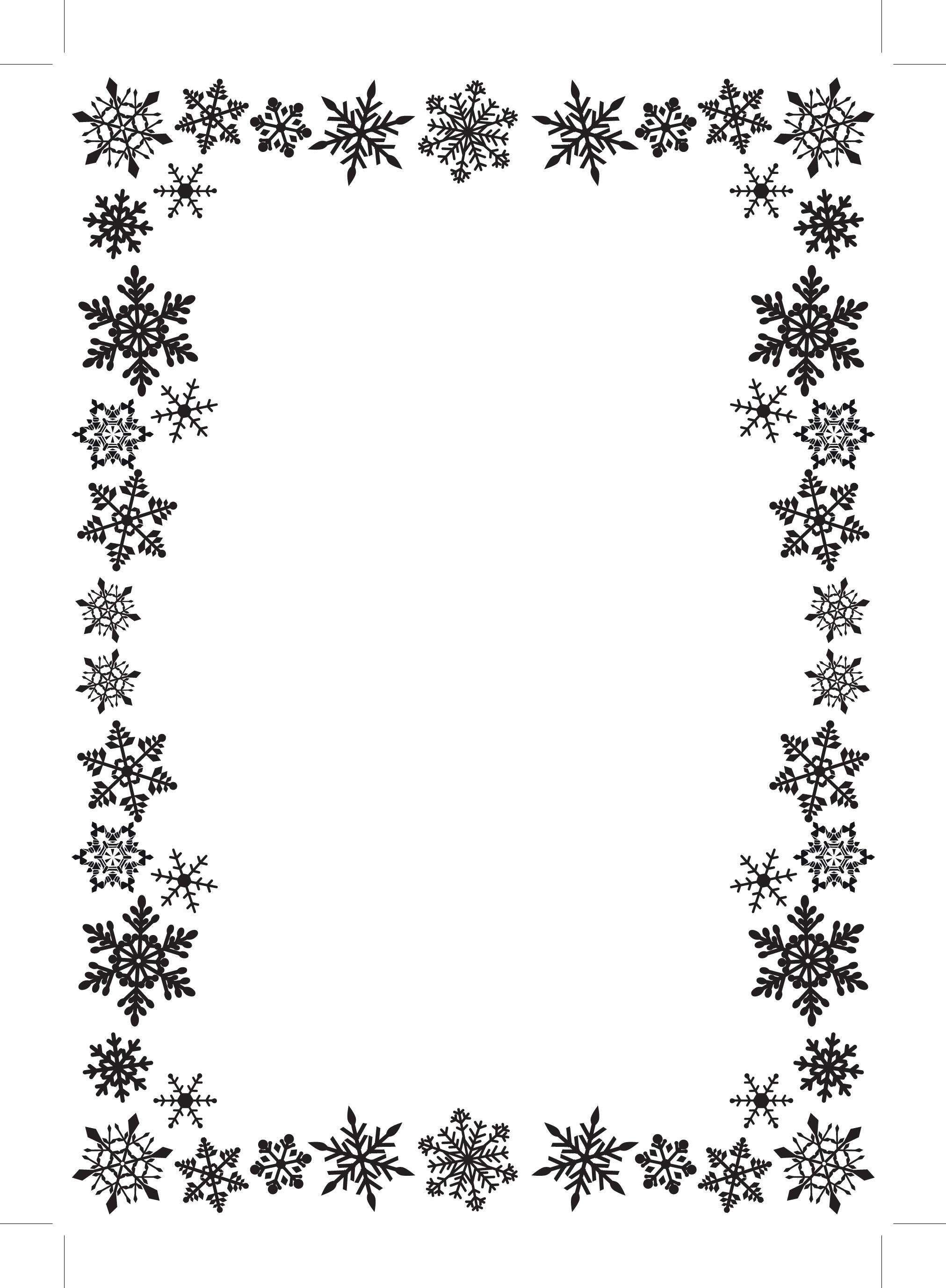 Snowflake Border Clipart Black And White.