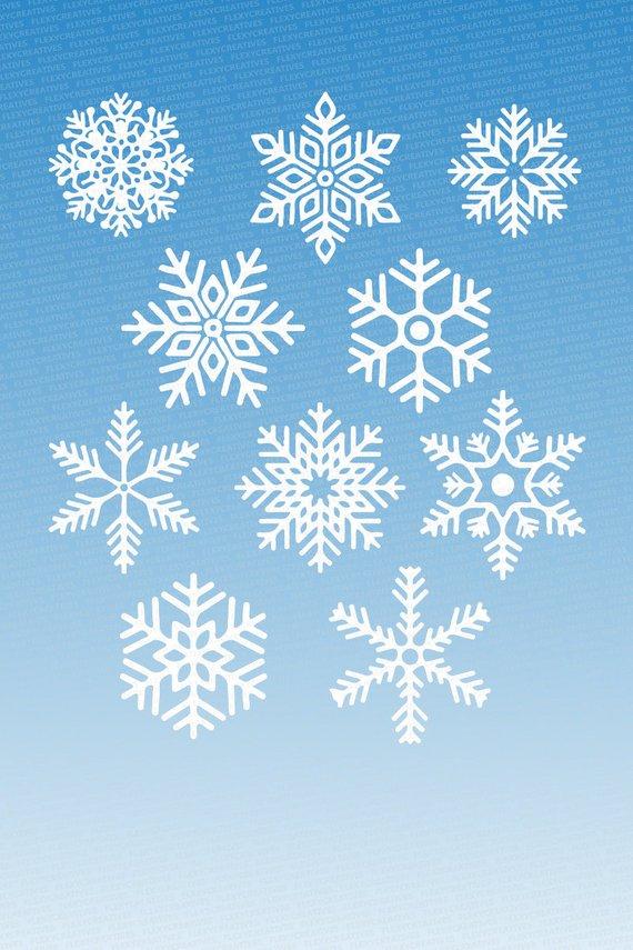 Snowflake Vector, Clipart, Cut File, Snowflakes Clip Art.