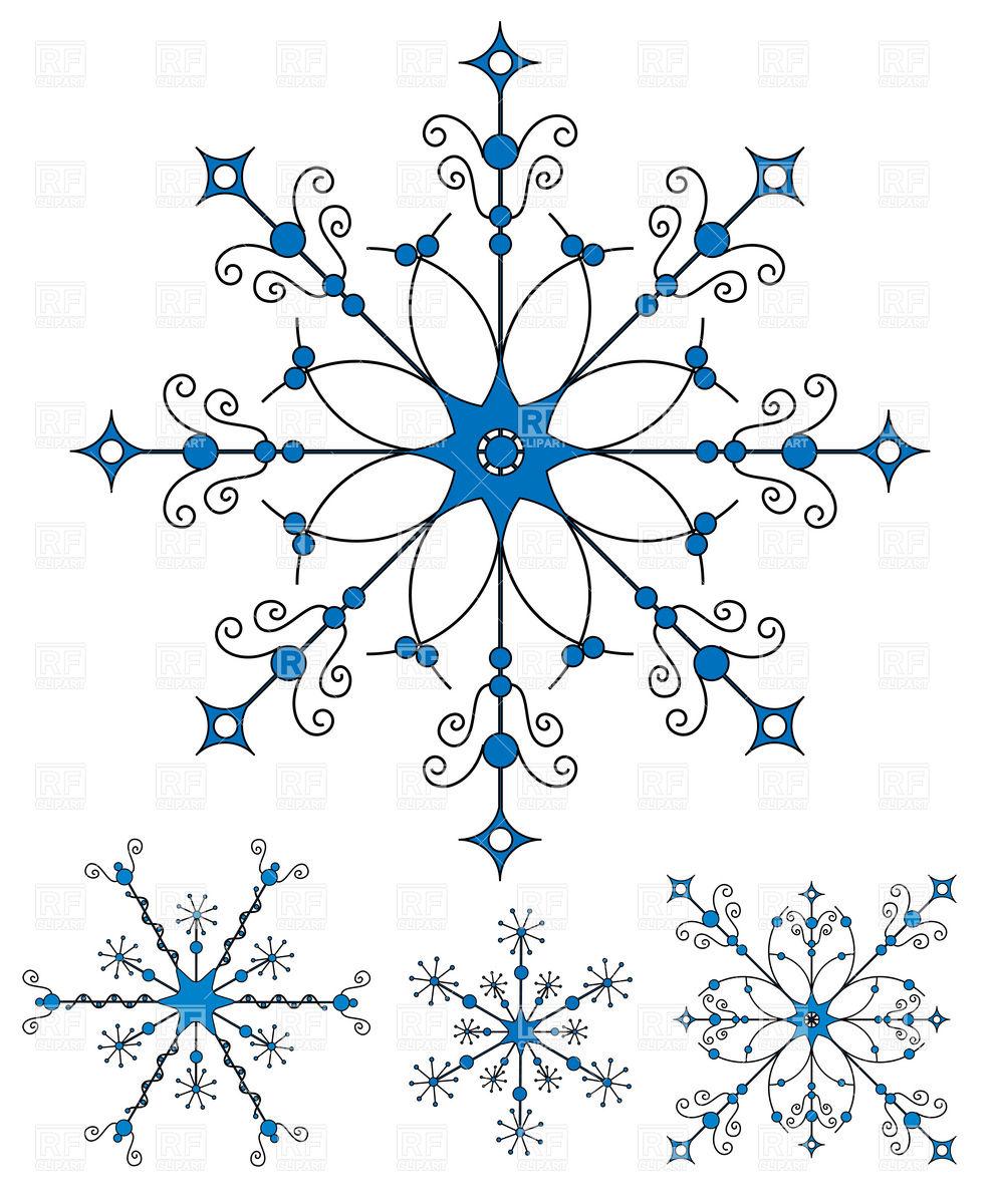 1662 Snowflakes free clipart.