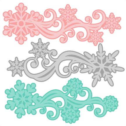 Snowflake Flourish Set SVG scrapbook cut file cute clipart.