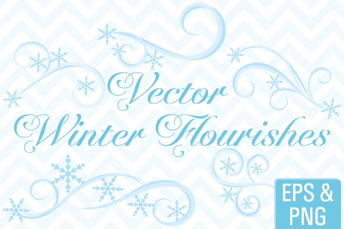 Winter Snowflake Flourishes Vector Clip Art By Sonya DeHart.