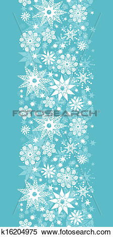 Clipart of Decorative Snowflake Frost Vertical Seamless Pattern.