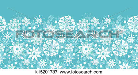 Clip Art of Decorative Snowflake Frost Horizontal Seamless Pattern.