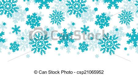 Clipart Vector of Blue Frost Snowflakes Horizontal Seamless.