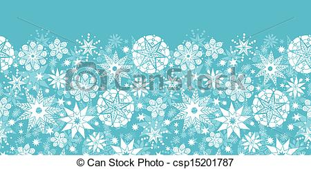 Vector of Decorative Snowflake Frost Horizontal Seamless Pattern.