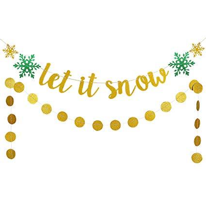 Amazon.com: Christmas Snowflake Garland Decor Kit,Gold.