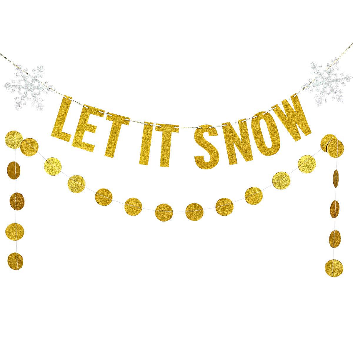 Christmas Snowflake Garland Decor Kit,Gold Glittery Let It Snow and Gold  Glittery Circle Dots Garland (25pcs Circle dot).