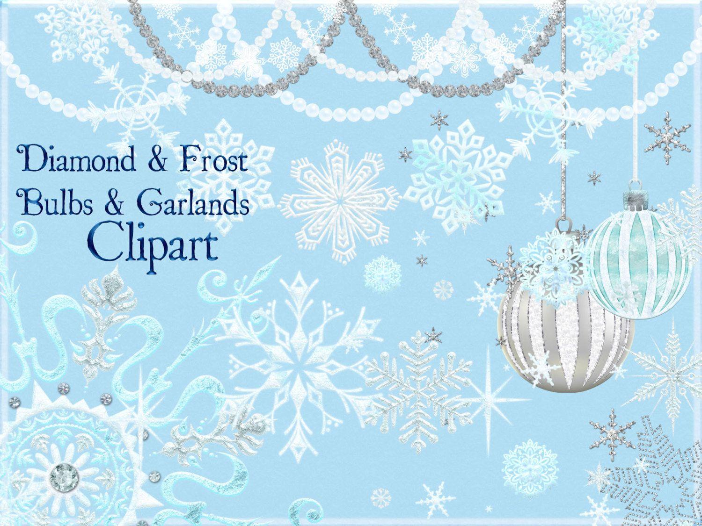 Christmas Clipart, Snowflake Clipart, Garland Clipart.