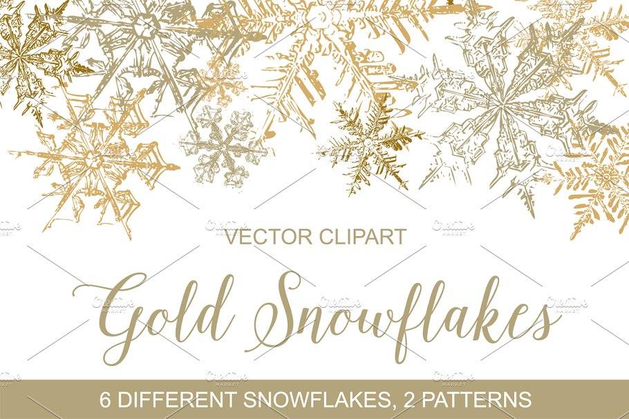 Gold Snowflakes Vector Clipart ~ Graphic Objects ~ Creative.