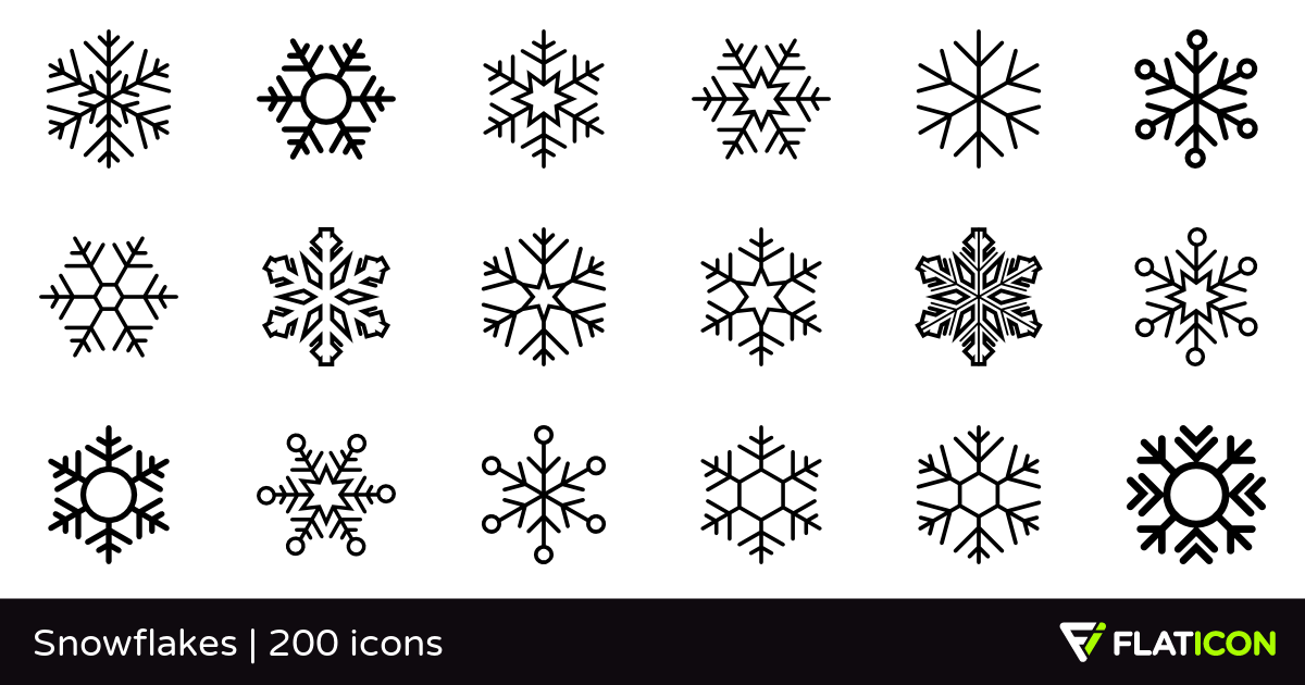 Snowflakes 200 free icons (SVG, EPS, PSD, PNG files).