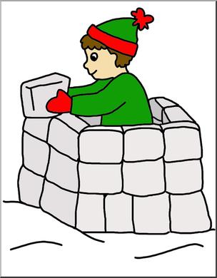 Clip Art: Kids: Snow Fort Color I abcteach.com.