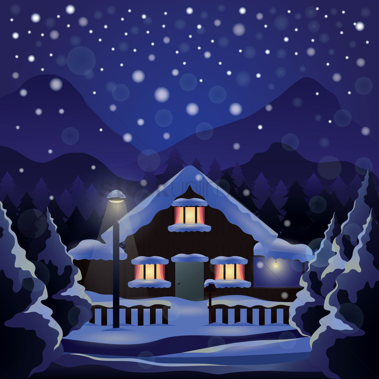 Snowing outside a house Vector Image.