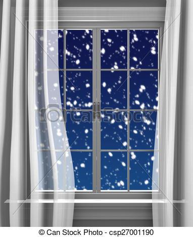 Clipart of Snowfall outside window.