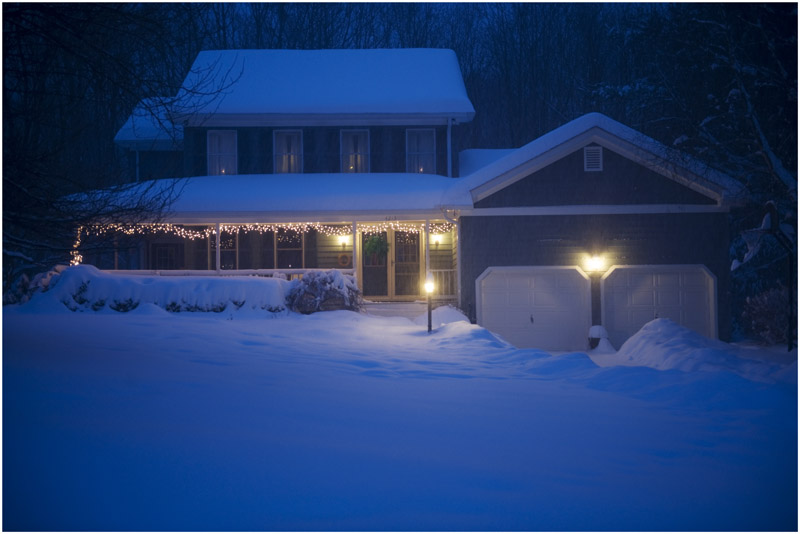 outside house lights vector clip art of a blue car covered in snow.