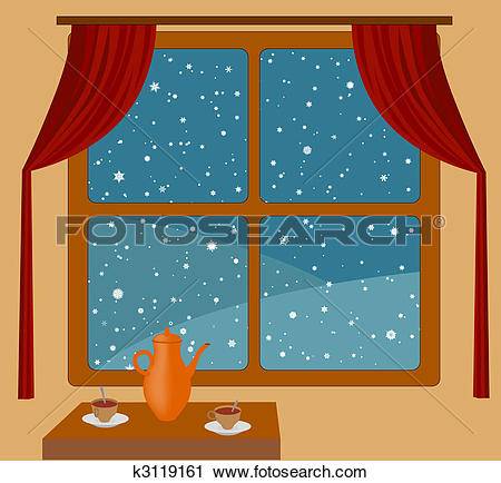 Clipart of Snowfall outside window k3119161.