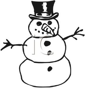Black and White Snowman with a Tophat, Carrot Nose, and.