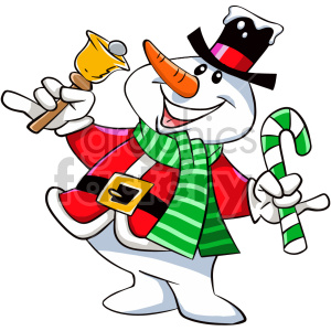 happy cartoon christmas snowman character clipart. Royalty.