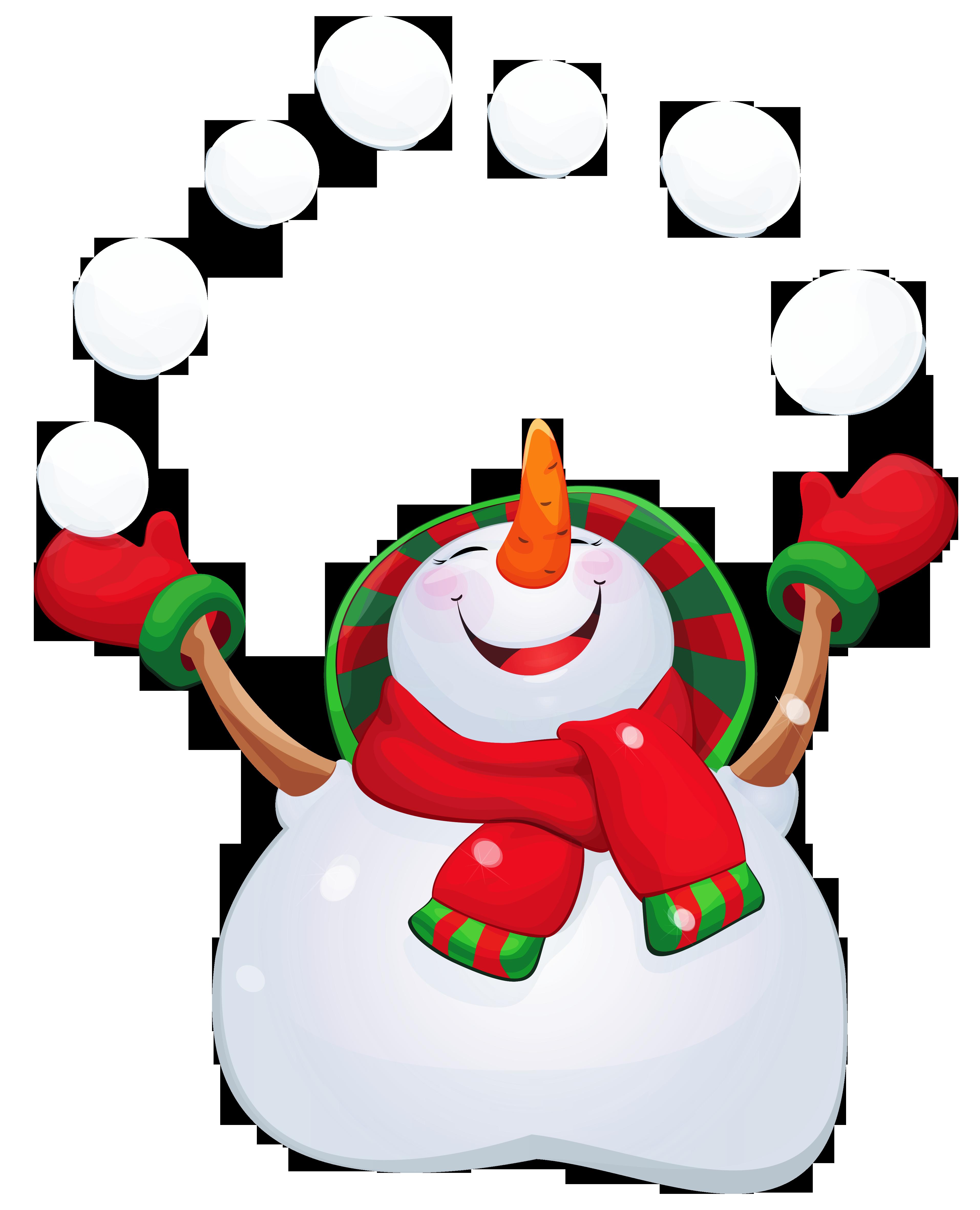 Transparent Happy Snowman PNG Clipart.