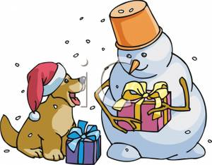 A Colorful Cartoon of a Snowman and Dog with Christmas Gifts.