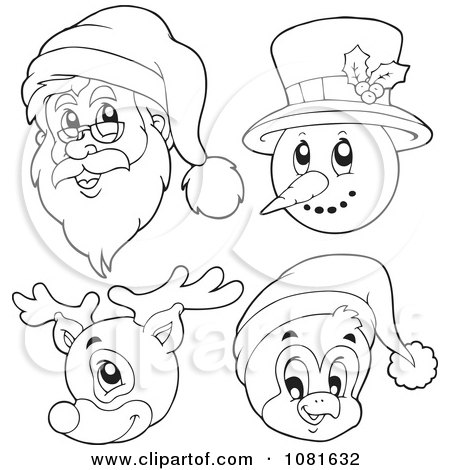Clipart Outlined Santa Snowman Reindeer And Penguin Faces.