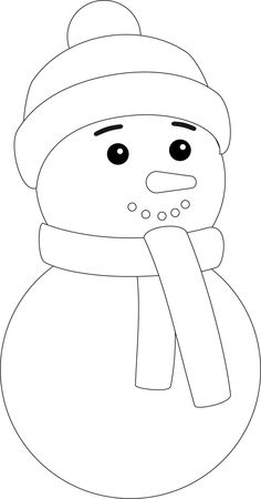 free snowman face clipart black and white.