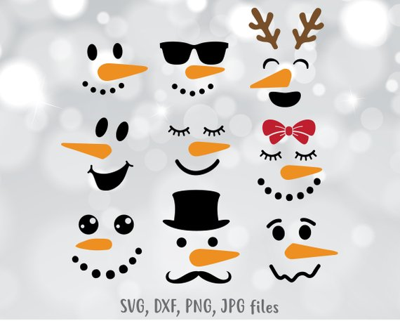 Snowman face SVG file, Snowman dxf, Snowmen Cut file, Face.