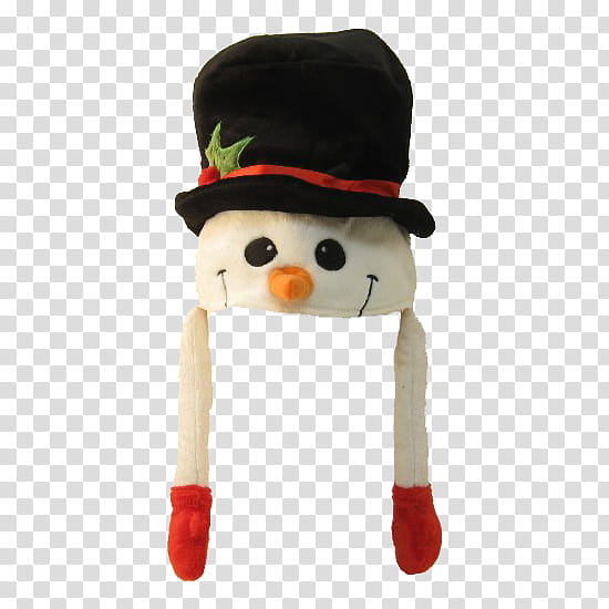 Christmas, white and black snowman hat transparent.