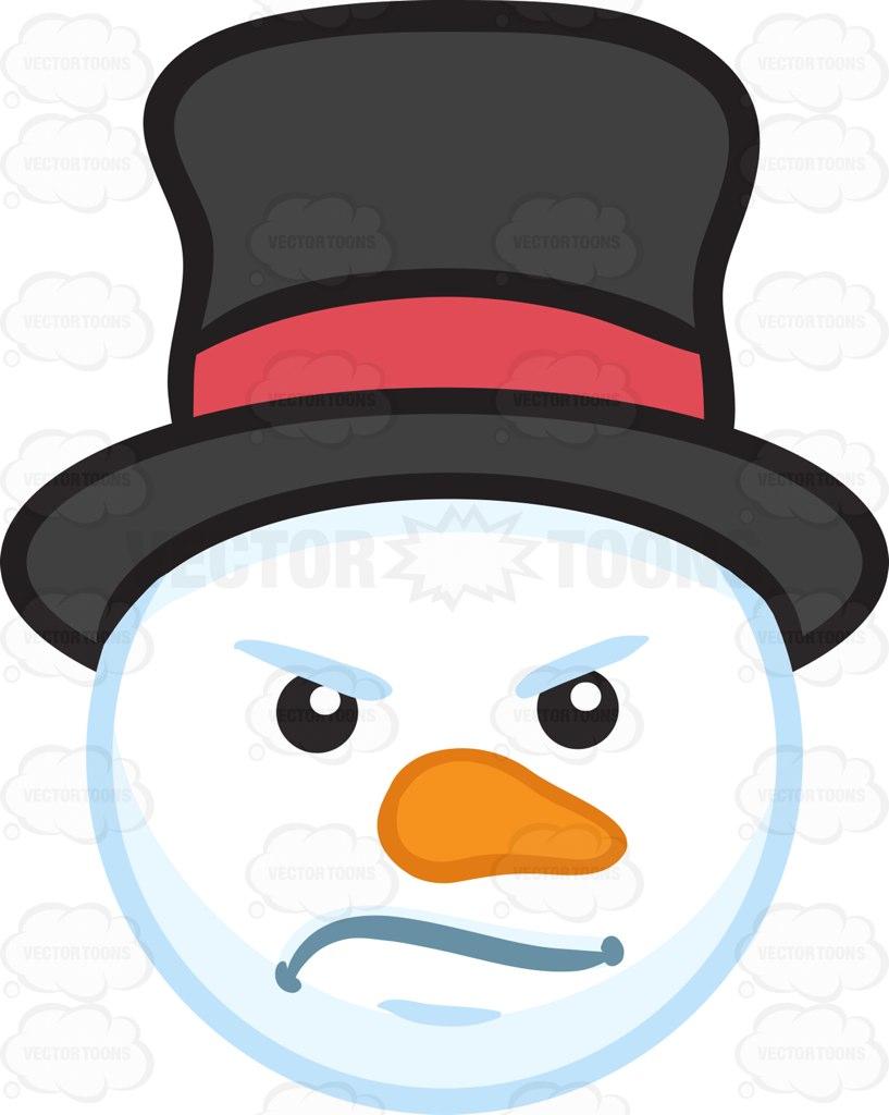 A Mad Snowman Head Cartoon Clipart.