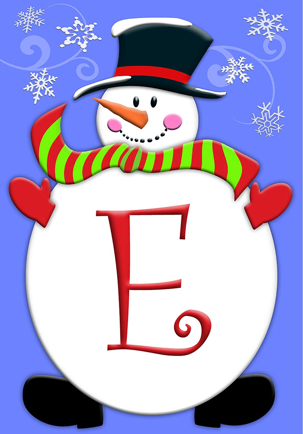 Amazon.com: Winter Christmas Snowman Snowflake Monogram E.