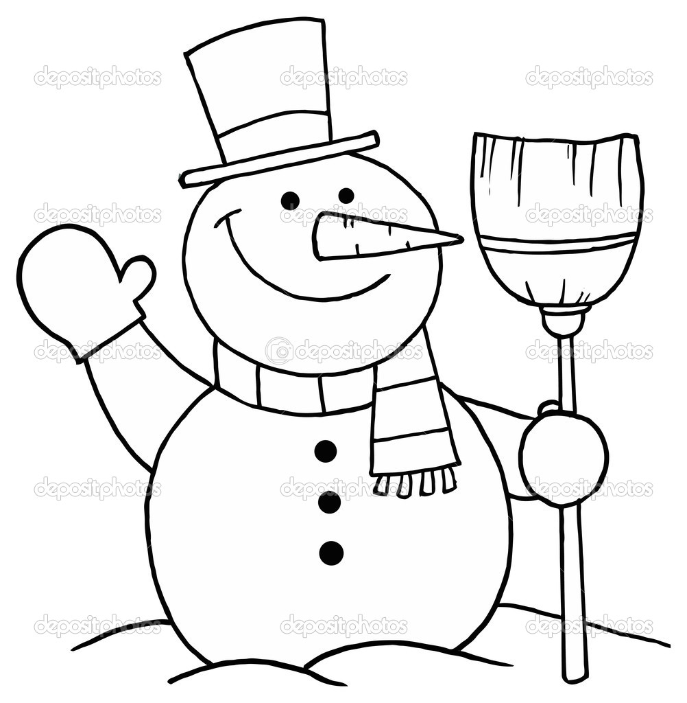 Snowman Outline With Free Outline Clipart : Snowman Outline.