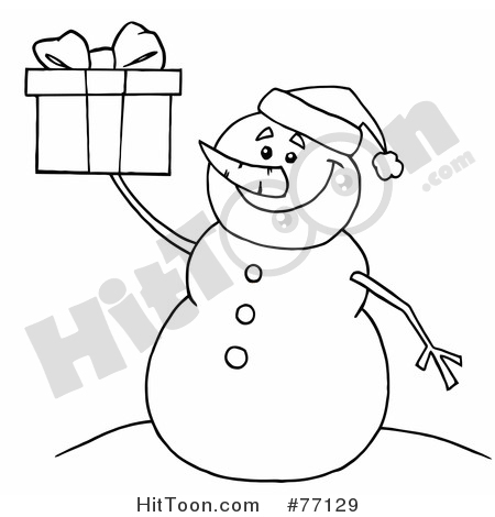 Snowman Clipart #77129: Black and White Coloring Page Outline of a.