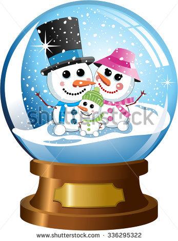 Cute Cartoon Christmas Snowglobe White Snowman Stock Illustration.