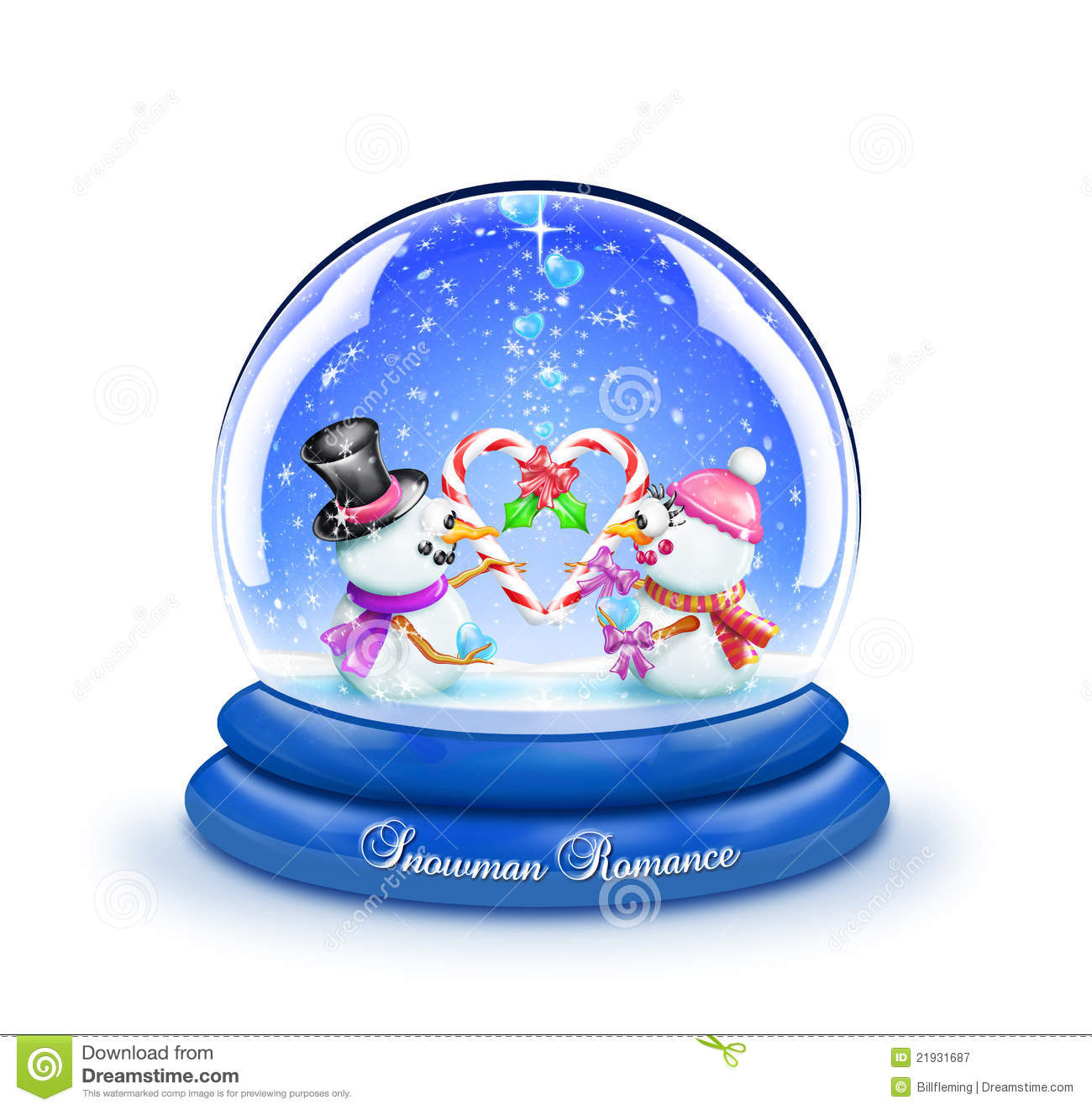 Snowman Candy Cane Romance Snow Globe Royalty Free Stock.