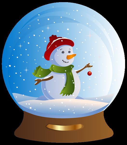 Snowman Snowglobe Transparent PNG Clip Art Image.