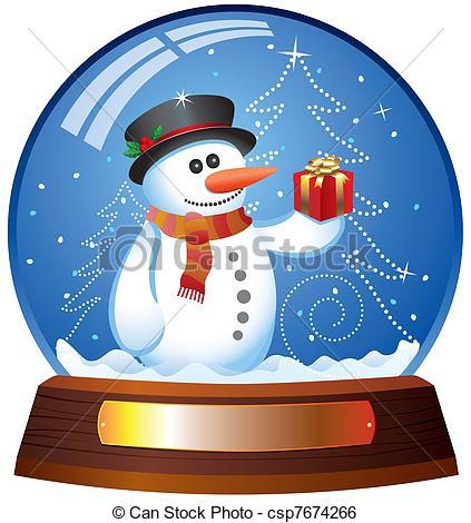 Clip Art Vector of snow globe with snowman.