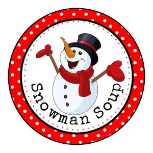Glossy Round Christmas Labels Stickers For Hot Chocolate Snowman Soup.