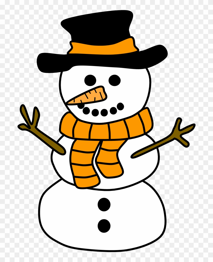 Snowman, Hat, Scarf, Orange,.