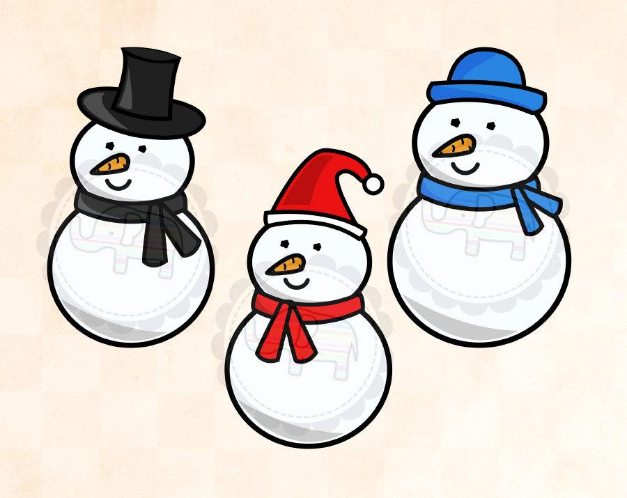 Winter Snowman Clip Art.