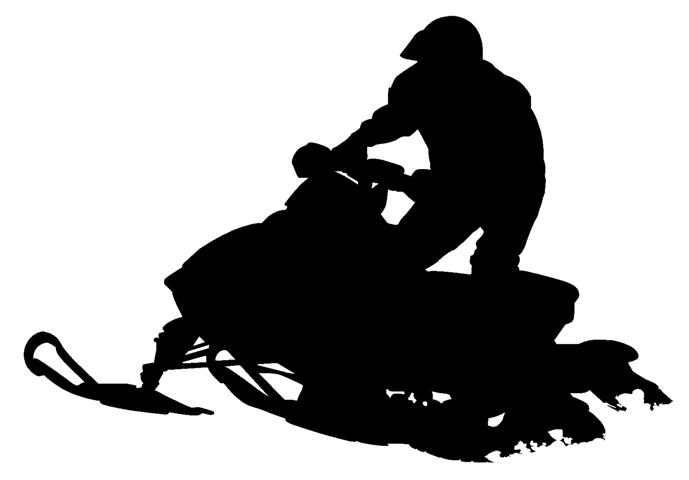 Girl with snowmobile silhouette clipart.