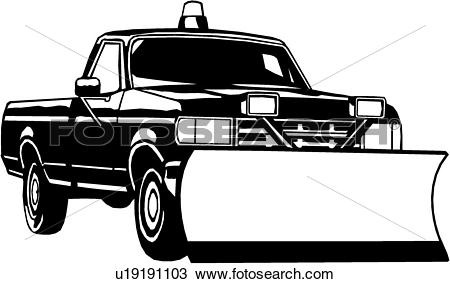 Clipart of , heavy equipment, construction, pickup snow plow.