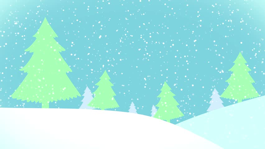 Snowscape Christmas Winter Background Animation Stock Footage.