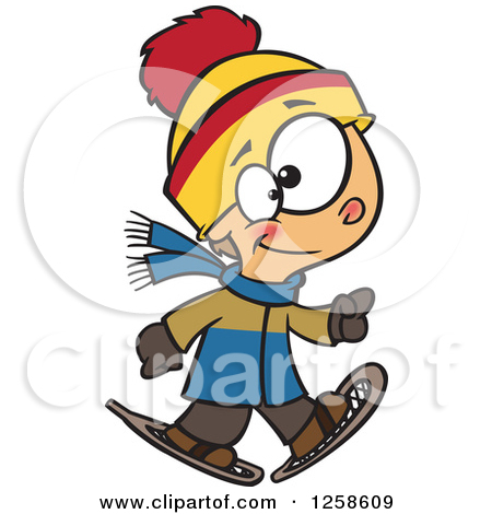 Clipart of a Cartoon Boy Bundled in Winter Apparel.