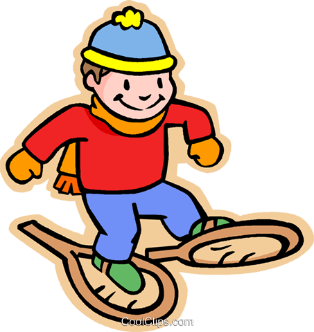 boy with snowshoes, winter Royalty Free Vector Clip Art.