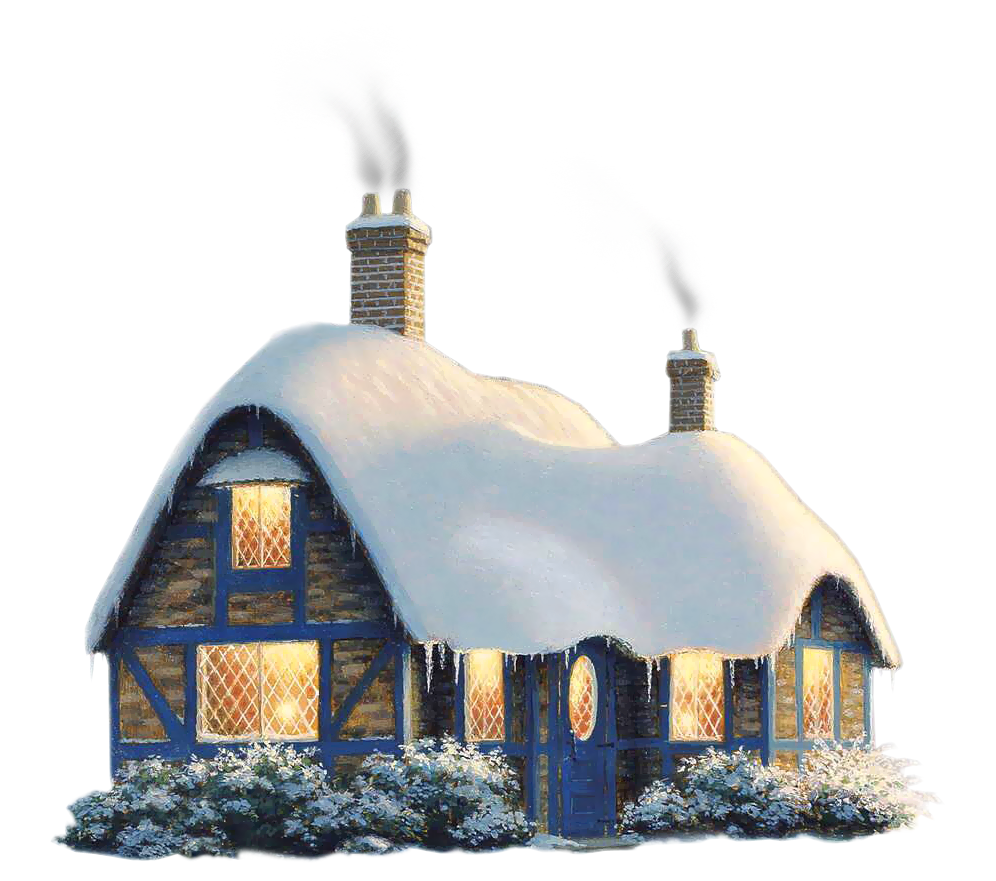 Transparent Snowy Winter House PNG Clipart.