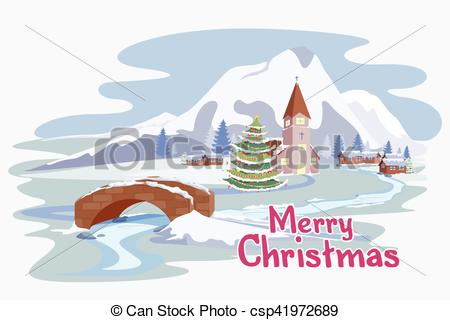 Vector of Snowy landscape in Christmas night.