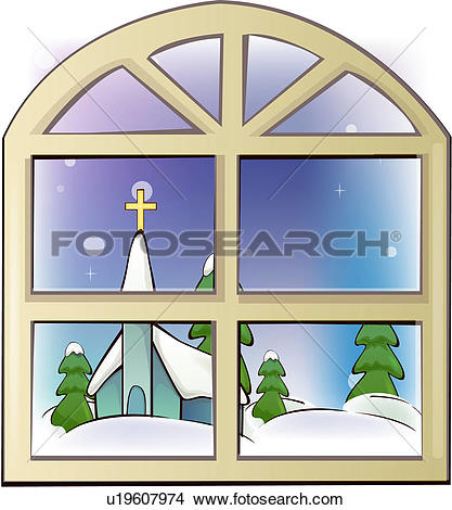 Clipart of snow, church, window, architecture, religion, snow.