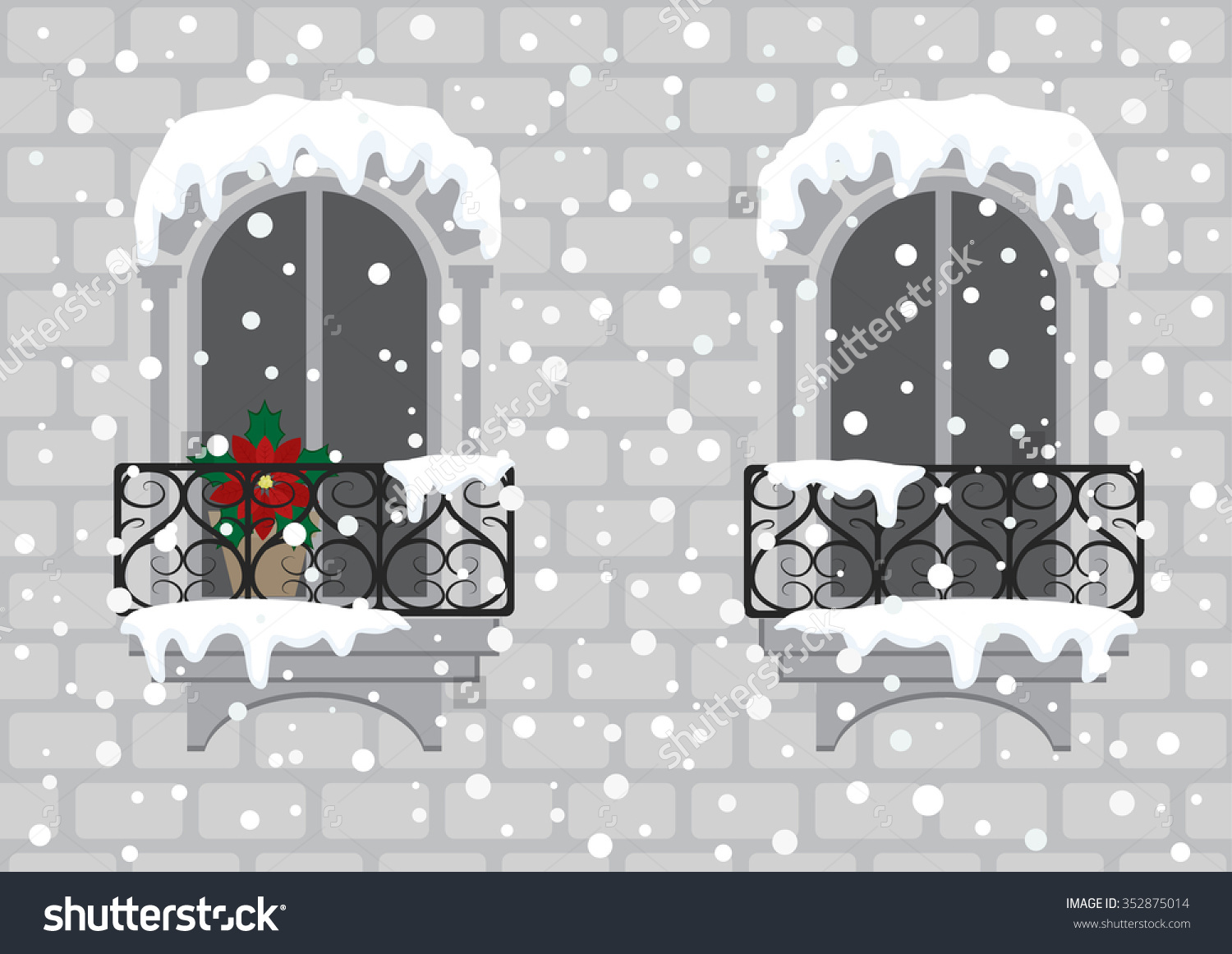 Cartoon Clip Art Windows Red Christmas Stock Vector 352875014.